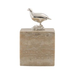 Sterling Silver and Travertine Grouse Cube Table Ornament