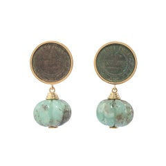 18 Carat Yellow Gold, Copper and Carved Chrysoprase 'Moscow Mule' Earrings