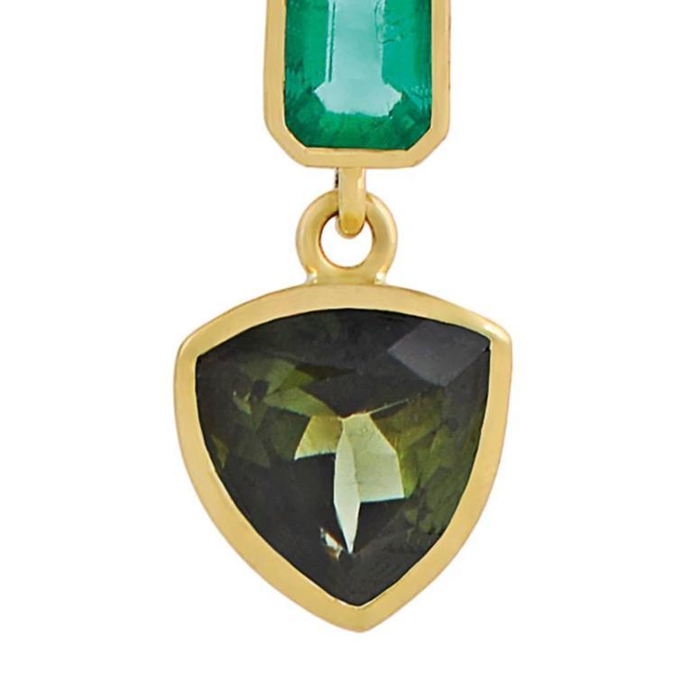 Tessa Packard Aventurine Tourmaline Emerald Black Diamond Drop Earrings 8