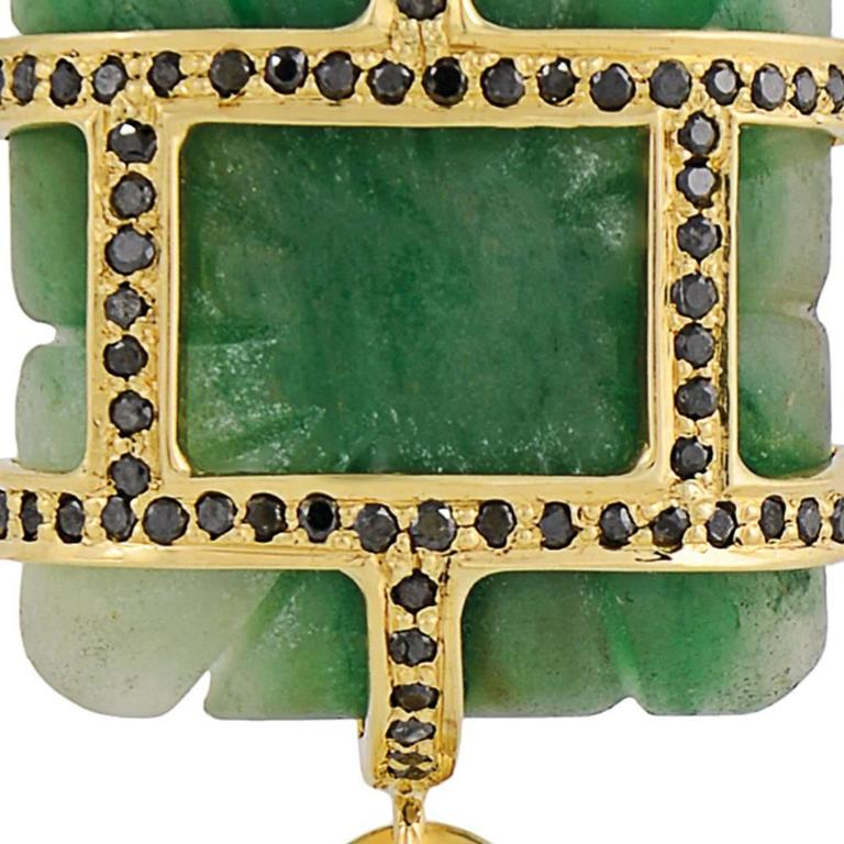 Tessa Packard Aventurine Tourmaline Emerald Black Diamond Drop Earrings 9