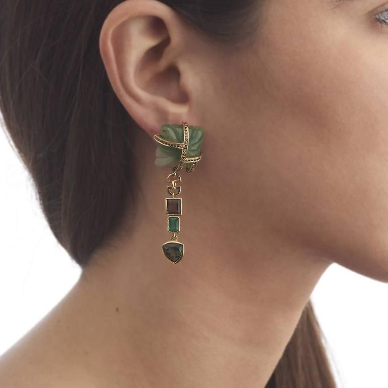 Tessa Packard Aventurine Tourmaline Emerald Black Diamond Drop Earrings 10