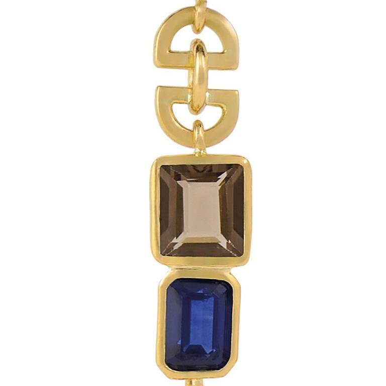 Lapis Lazuli Tourmaline Sapphire Black Diamond Earrings 8