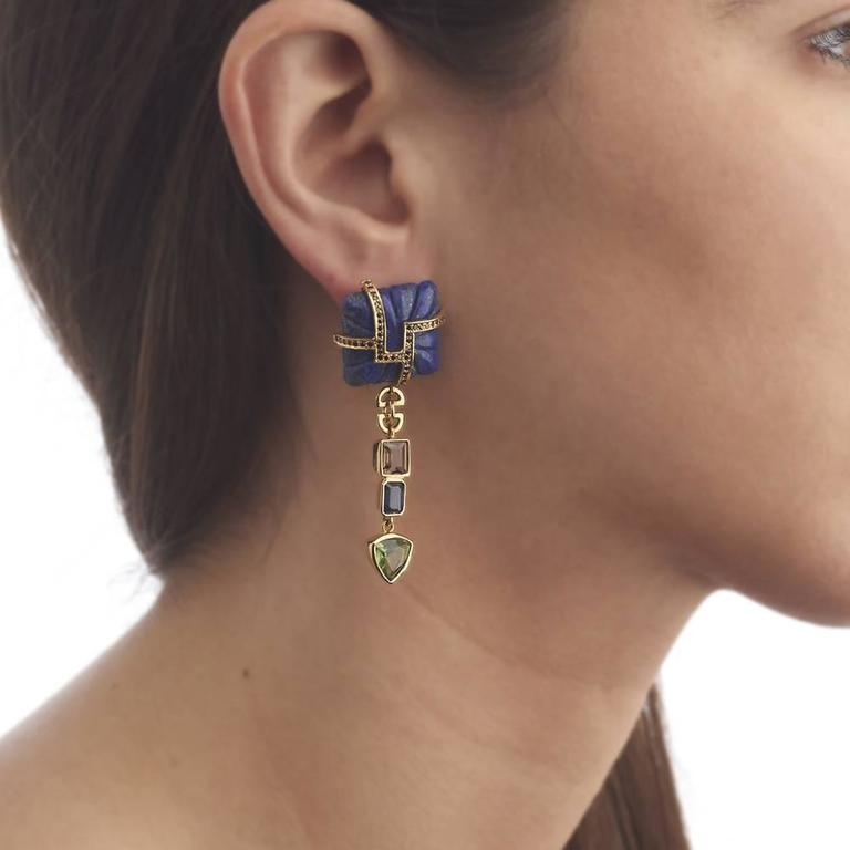 Lapis Lazuli Tourmaline Sapphire Black Diamond Earrings 2
