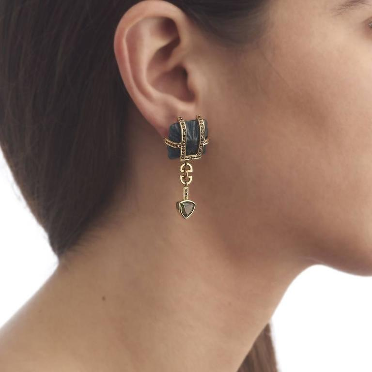 Contemporary TPL Gold Black-Diamond Tourmaline Carved Kyanite Earrings For Sale