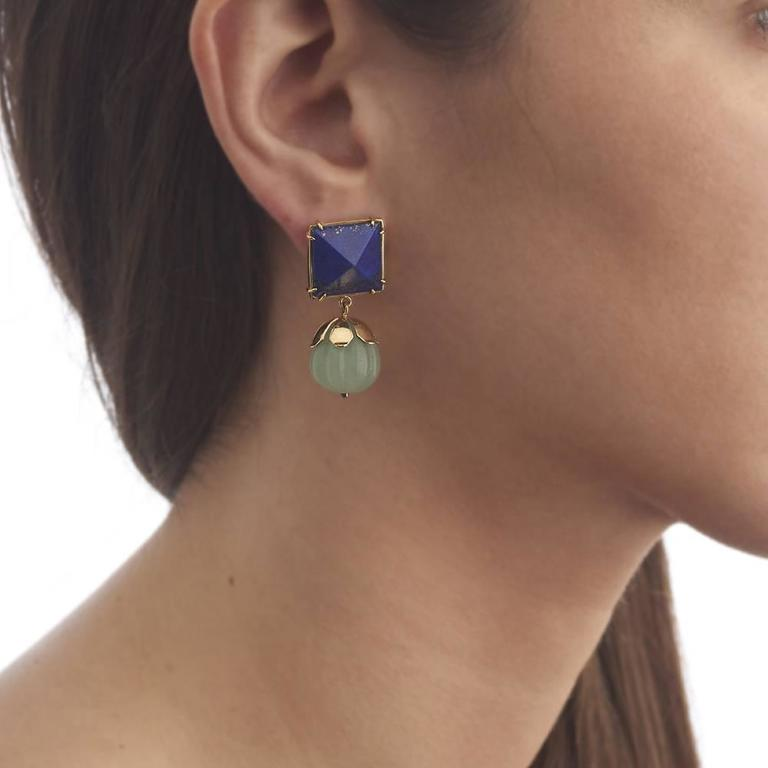Lapis Lazuli Chrysoprase Gold Dangle Earrings 5