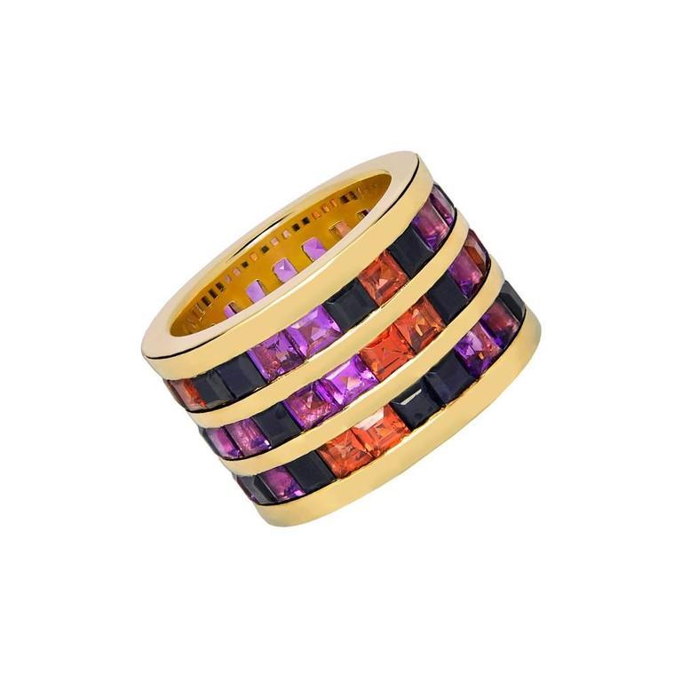 Garnet Amethyst Black Sapphire Gold Band Ring 2