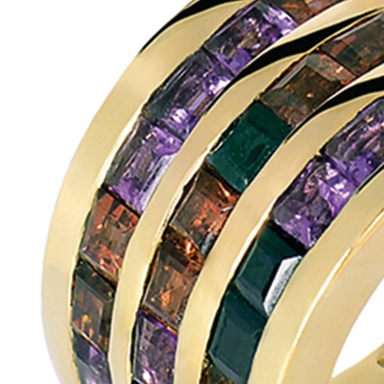 Garnet Amethyst Black Sapphire Gold Band Ring 6