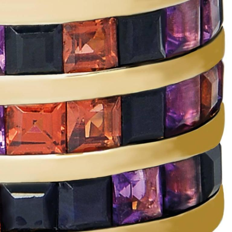 Contemporary TPL Gold Black Sapphire Garnet Amethyst Cocktail Ring For Sale