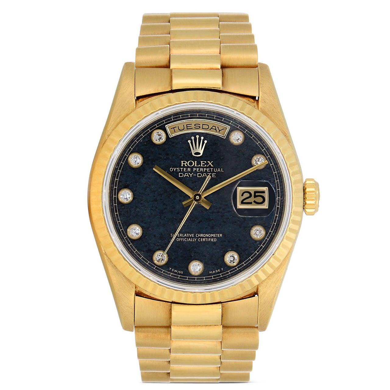 Rolex Yellow Gold Diamond Dial Perpetual Day-Date President Quartz Wristwatch