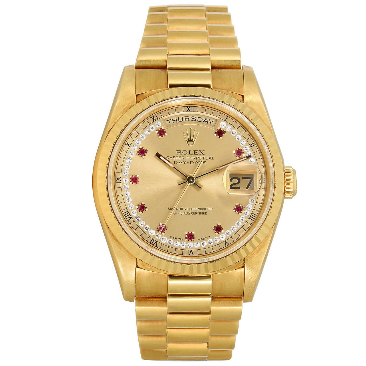 Rolex Yellow Gold Diamond Ruby Dial Day-Date Presidential ...