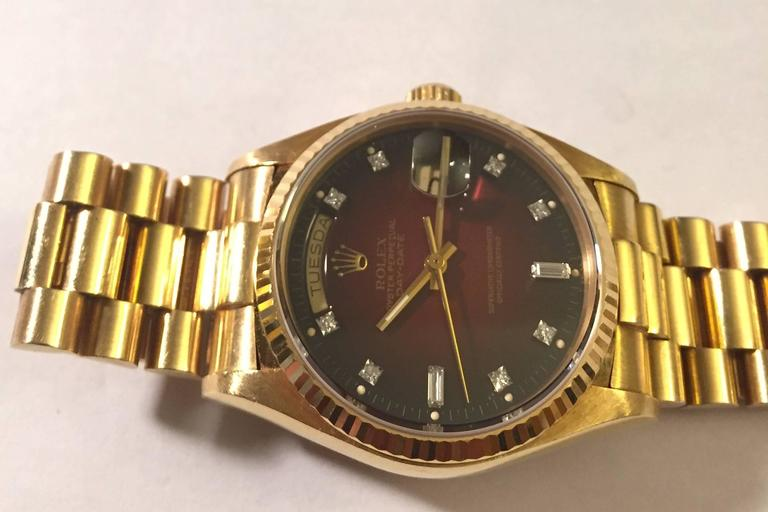 Rare Rolex Oyster Perpetual Day-Date President with Brown Vignette Diamond Dial For Sale 2