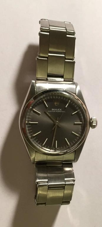 Vintage Rolex Stainless Steel Oyster Perpetual Wristwatch For Sale 2