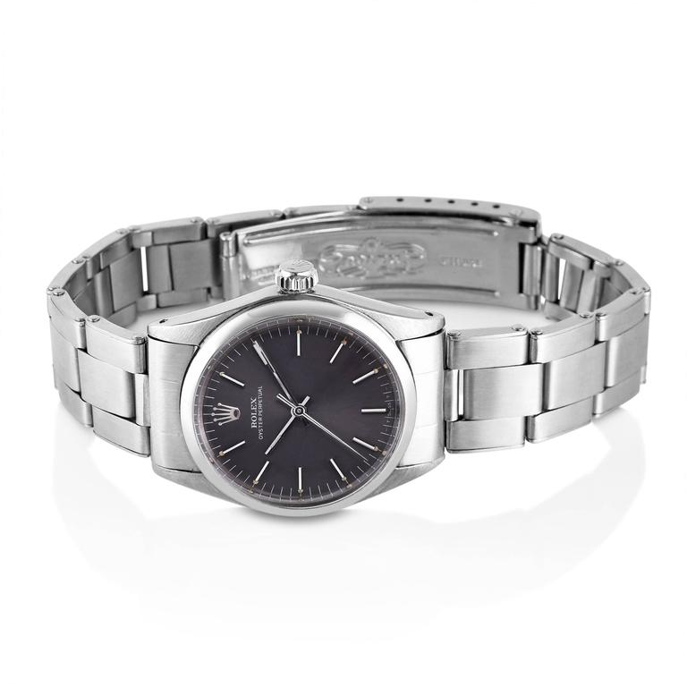 Vintage Rolex Stainless Steel Oyster Perpetual Wristwatch In Excellent Condition For Sale In New York, NY