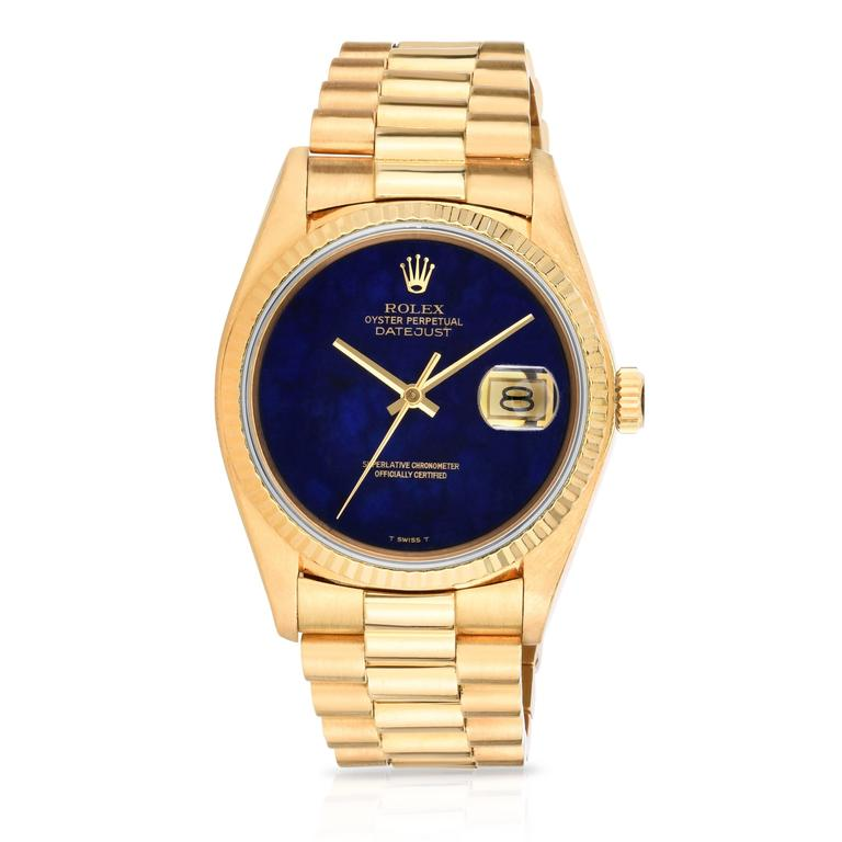 Rolex Yellow Gold Lapis Lazuli Stone Dial Oyster Perpetual Datejust Wristwatch 2