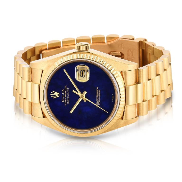 Rolex Yellow Gold Lapis Lazuli Stone Dial Oyster Perpetual Datejust Wristwatch 3