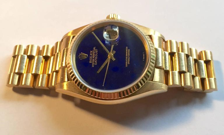 Rolex Yellow Gold Lapis Lazuli Stone Dial Oyster Perpetual Datejust Wristwatch 5