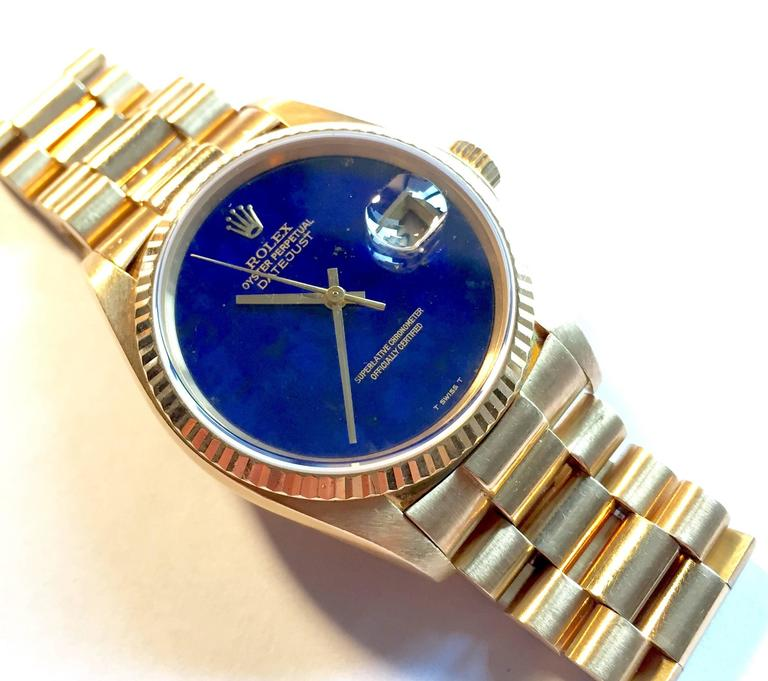 Rolex Yellow Gold Lapis Lazuli Stone Dial Oyster Perpetual Datejust Wristwatch 4