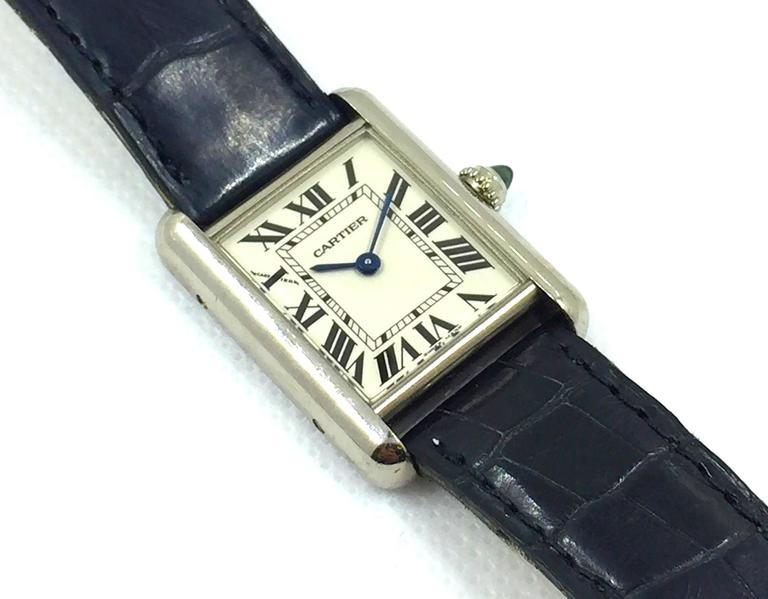 Cartier Ladies White Gold Tank Quartz Wristwatch 4