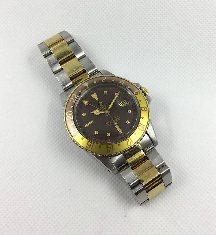 Rolex Yellow Gold Stainless Steel Oyster Perpetual GMT Master Wristwatch