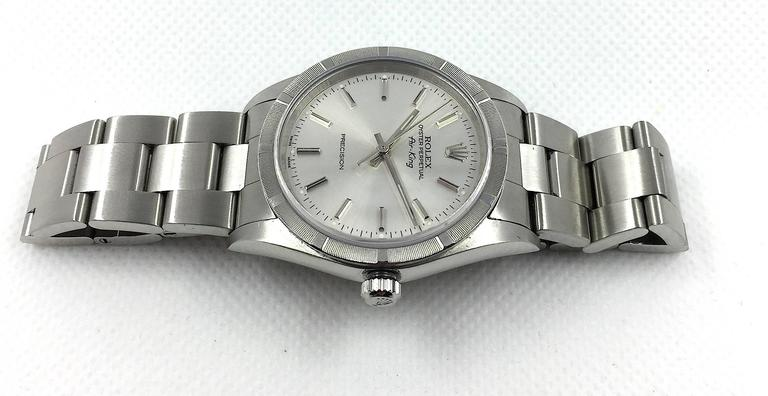 Women's or Men's Rolex Stainless Steel Oyster Perpetual Air King Automatic Wristwatch For Sale
