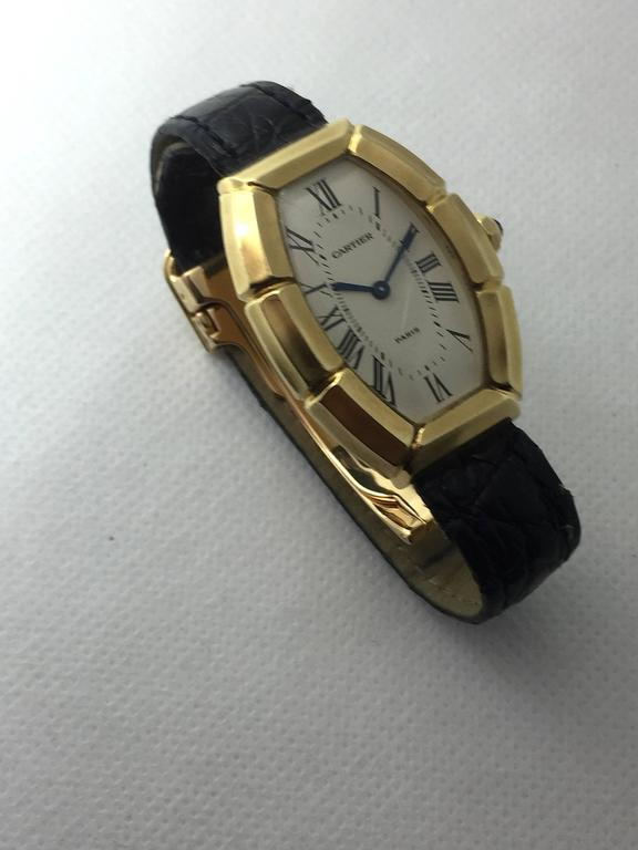 Cartier Paris  Tonneau Shape Yellow Gold  Automatic Wristwatch 3