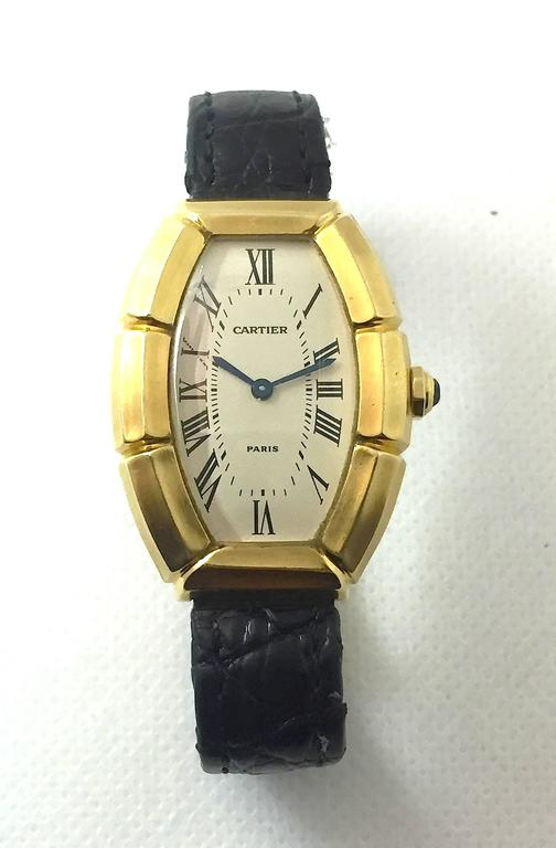 Cartier Paris  Tonneau Shape Yellow Gold  Automatic Wristwatch 2