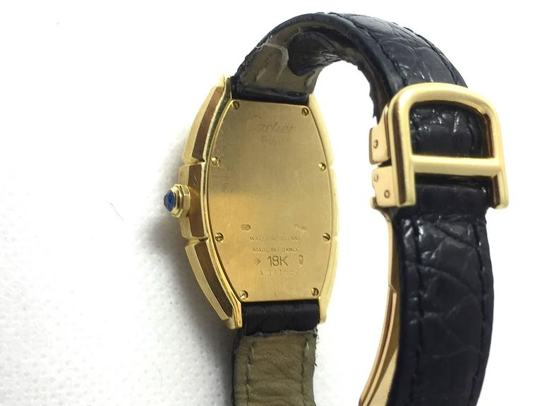 Cartier Paris  Tonneau Shape Yellow Gold  Automatic Wristwatch 5