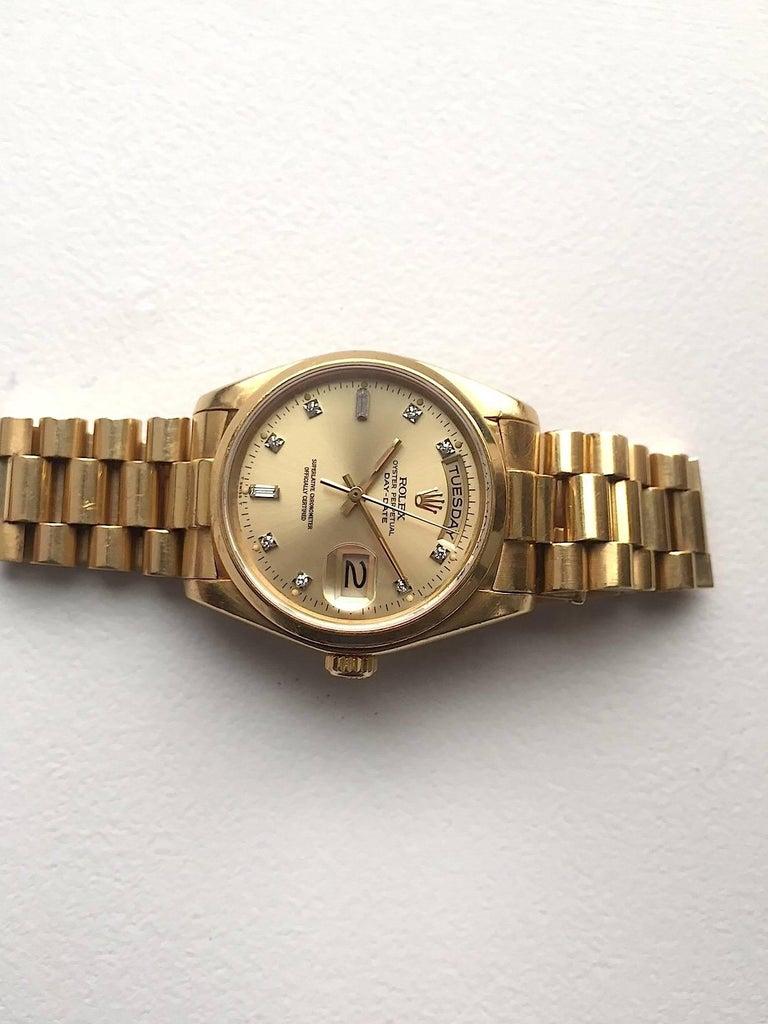 Rolex 18 Karat Yellow Gold Diamond Dial Day-Date President Wristwatch 3