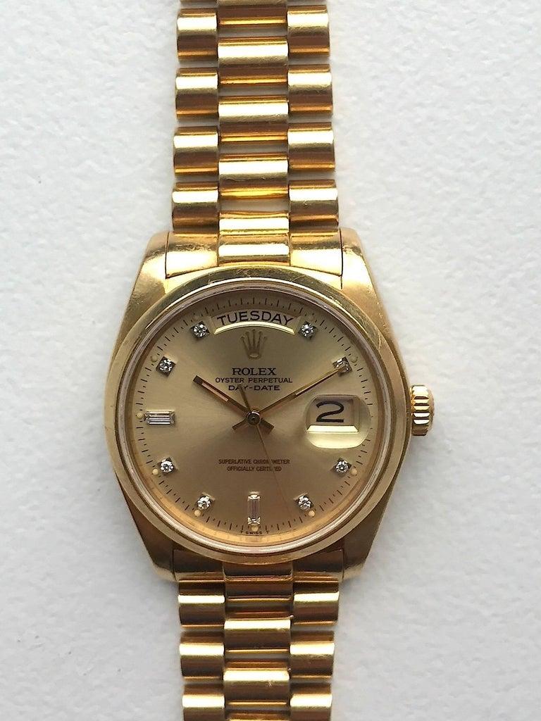 Rolex 18 Karat Yellow Gold Diamond Dial Day-Date President Wristwatch 2