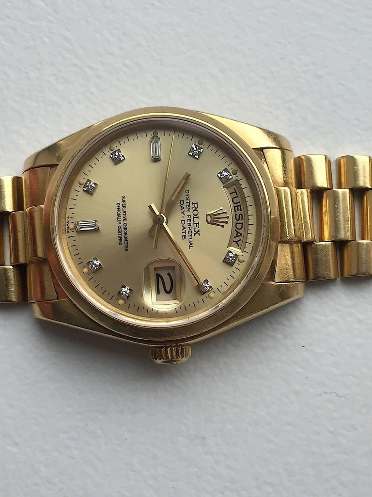 Rolex 18 Karat Yellow Gold Diamond Dial Day-Date President Wristwatch 5