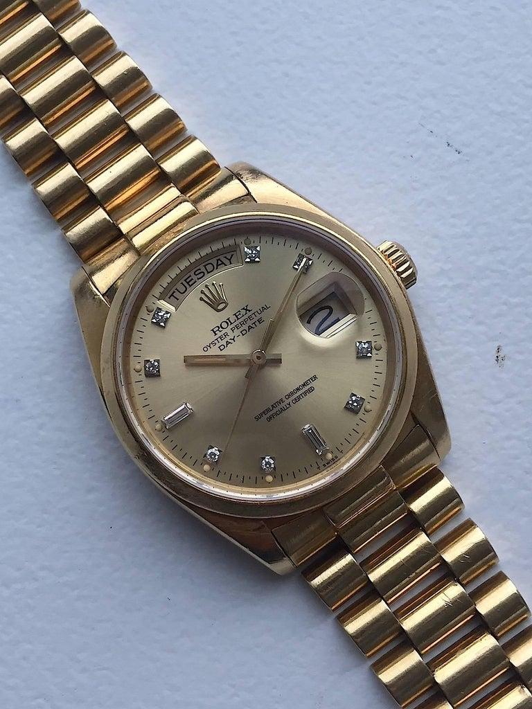 Rolex 18 Karat Yellow Gold Diamond Dial Day-Date President Wristwatch 4