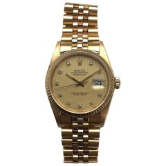 Rolex Yellow Gold Diamond Dial Oyster Perpetual Datejust Automatic Wristwatch