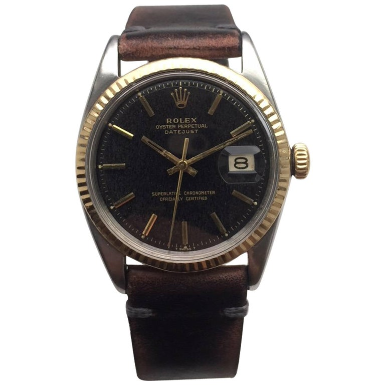 Rolex Yellow Gold Stainless Steel Tropical Dial Datejust Wristwatch, 1960s