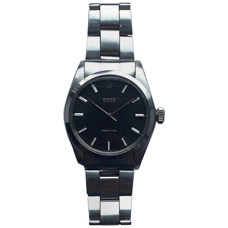 Rolex Stainless Steel Oyster Precision Black Dial Manual Wind Watch, 1970s