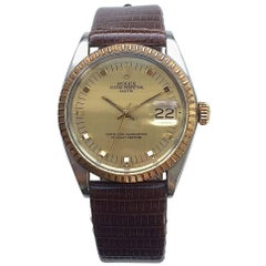 Rolex Steel and Gold Oyster Perpetual Date Automatic Watch with Papers, 1970s