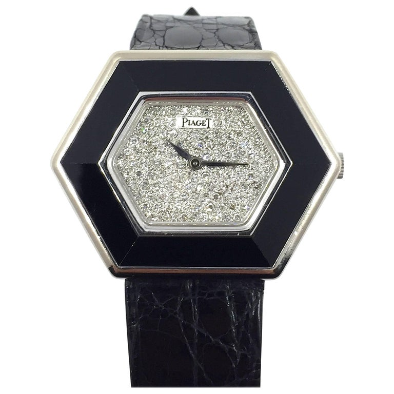 Piaget  Ladies White Gold and Onyx Pave Diamond Dial Manual Wind Wristwatch