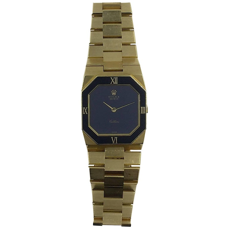 Rolex Yellow Gold Cellini Geometric Stone Dial Manual Wind Wristwatch