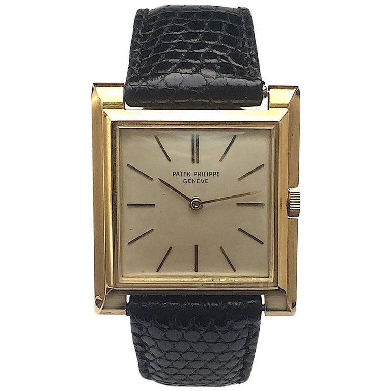Patek Philippe Yellow Gold Square Manual Wind Wristwatch