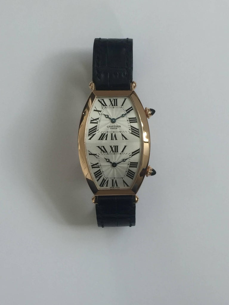 Cartier Paris Rose Gold Tonneau Cintree Dual Time Mechanical Wristwatch In Excellent Condition For Sale In New York, NY