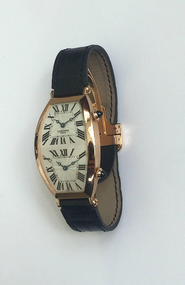 Women's or Men's Cartier Paris Rose Gold Tonneau Cintree Dual Time Mechanical Wristwatch For Sale