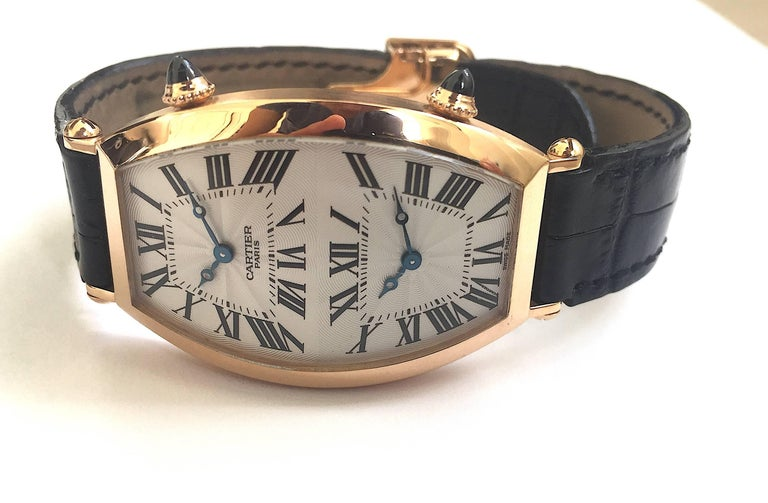 Cartier Paris Rose Gold Tonneau Cintree Dual Time Mechanical Wristwatch For Sale 3