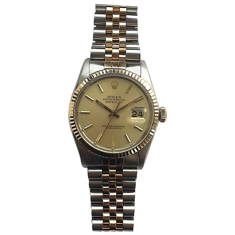 Rolex Yellow Gold Stainless Steel Oyster Perpetual Datejust Wristwatch, 1980s