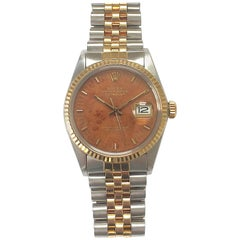 Rolex Yellow Gold Stainless Wood Dial Oyster Perpetual Datejust Wristwatch, 1980