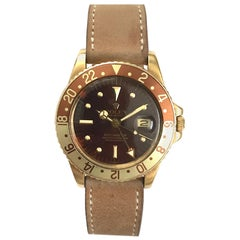 Rolex Yellow Gold GMT Master Root Beer Automatic Wristwatch, 1970s