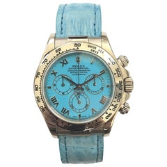 Rolex White Gold Daytona Blue Beach Edition Automatic Wristwatch