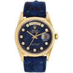 Rolex Yellow Gold Day-Date Diamond Aventurine Dial Wristwatch