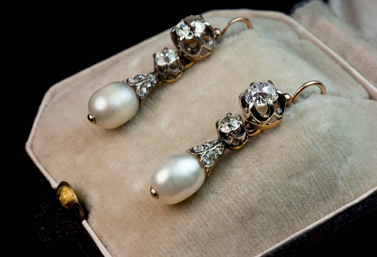Made In Moscow Between 1882 And 1898 The Silver Topped Gold Day Night Earrings