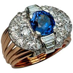 Retro 5 Carat Ceylon Sapphire Diamond gold Ring