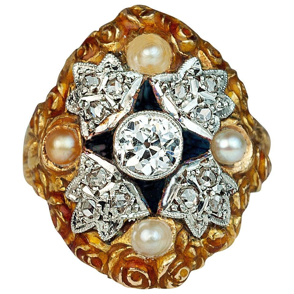 Art Nouveau Enamel Pearl Diamond Ring