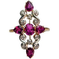 Art Deco Ruby Diamond Gold Platinum Ring